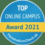 """Rundes Blaues Gütesiegel von Fernstudiumcheck für TOP Online Campus mit einem gelben Banner mit der Aufschrift """"Award 2021"""""""