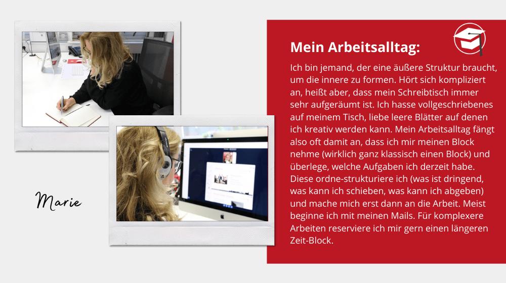 Arbeitsalltag von Marie Huchthausen: Videokonferenz und Stift und Papier