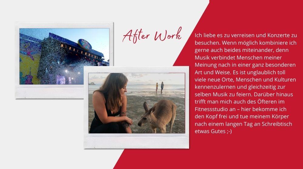 Melanie Schymanietz nach der Arbeit: Reisen und Festivals
