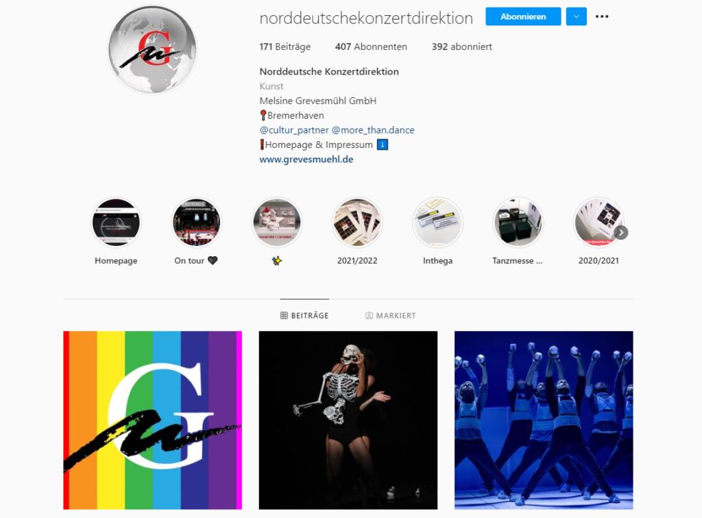Instagram Auftritt von der Norddeutschen Konzertdirektion Melsine Grevesmühl (kurz: NDKD)