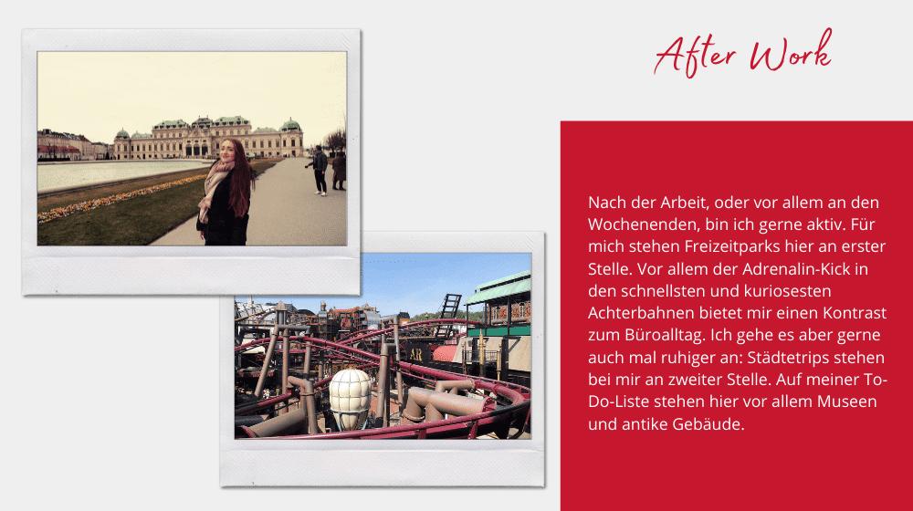 Maike Kloppholz bei einem Städtetrip in Wien und in einem Freizeitprak