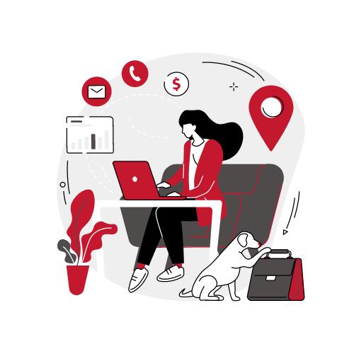 Grafik Frau sitzt an einem Computer und arbeitet