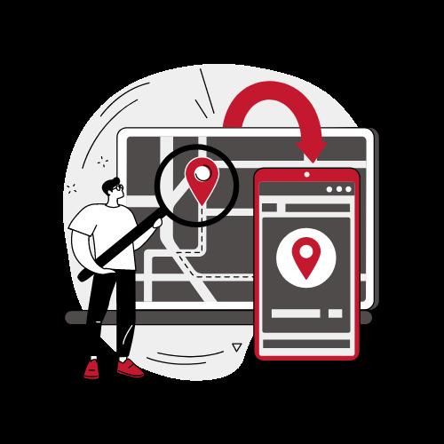Grafik Mann mit Lupe vor Laptop mit Standortsymbol
