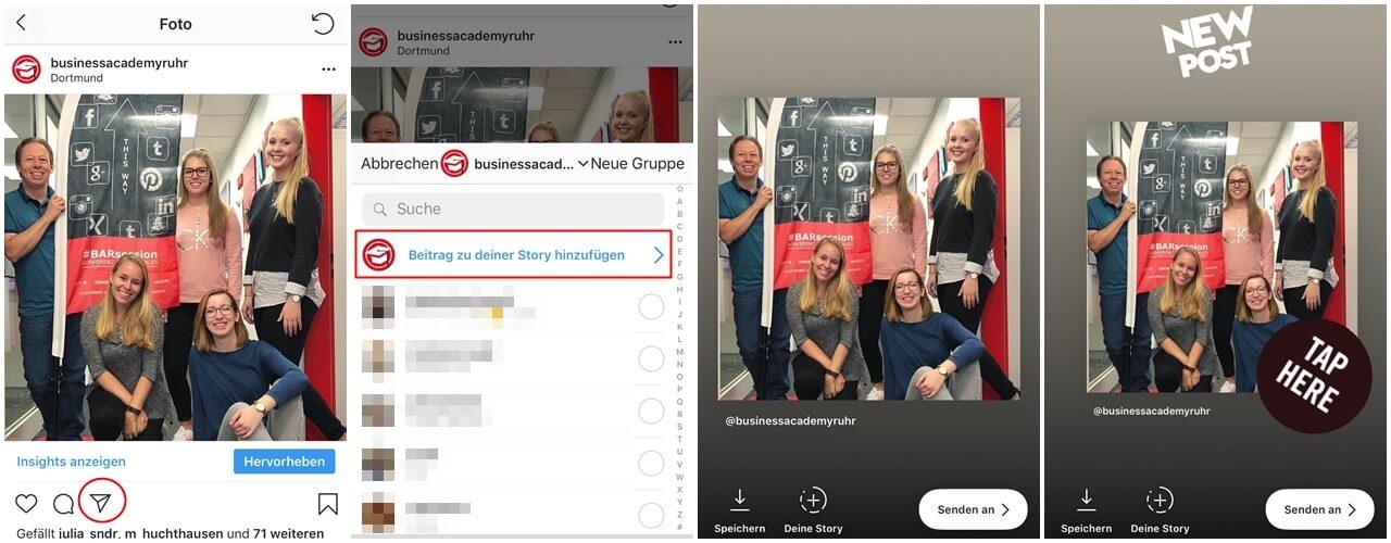 Beiträge lassen sich ganz leicht zu einer Story hinzufügen, damit sie mehr Aufmerksamkeit auf einen bestimmten Post richten können.