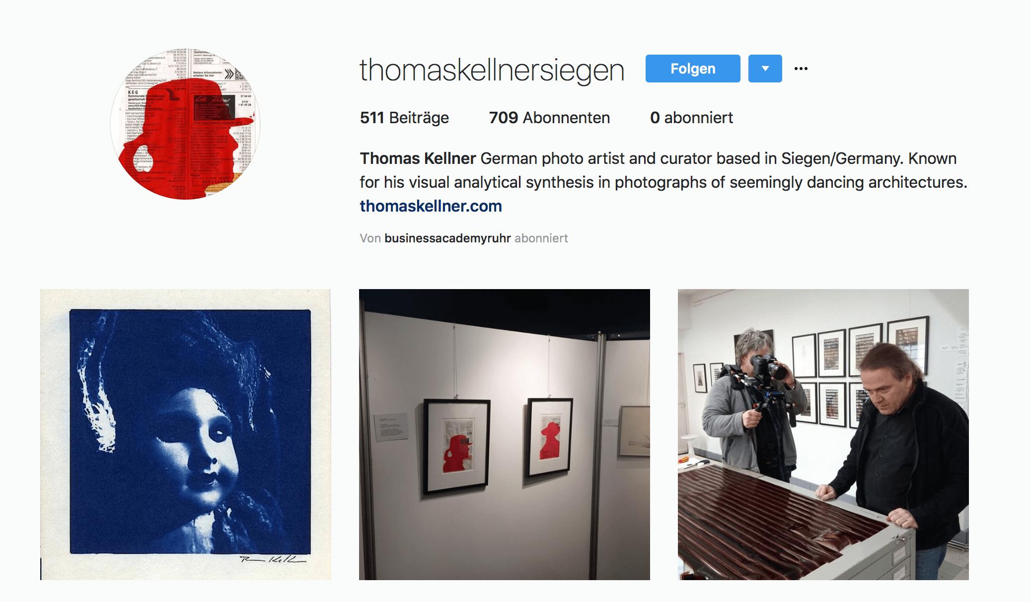 Das Bild zeigt einen Instagram-Feed des Künstlers Thomas Kellner. Zu sehen sind drei Fotos, die er gepostet hat