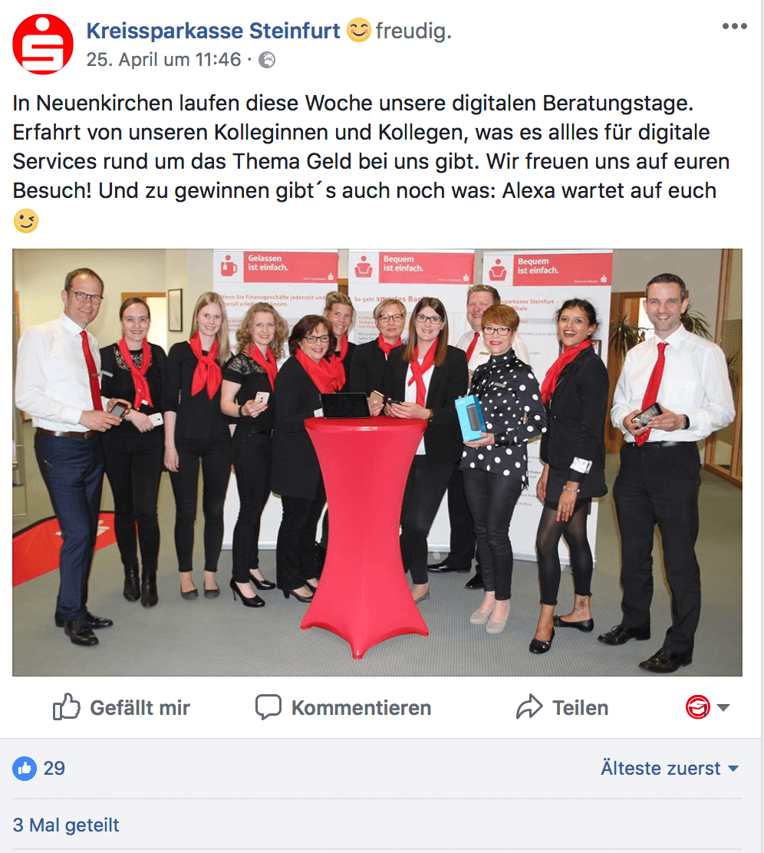Bild der Mitarbeiter der Kreissparkasse Steinfurt auf Social Media Kanal