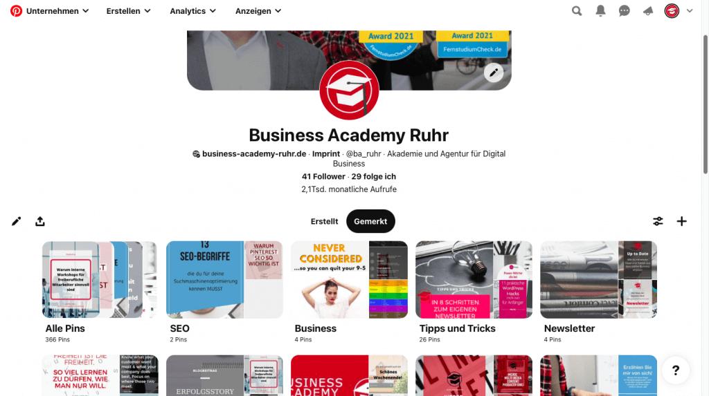 Screenshot der Pinterest-Seite der Businesss Academy Ruhr