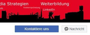 Direkt unter dem Titelbild der Facebook Fanpage gibt es einen Call to Action, wo der Nutzer zu verschiedenen Aktionen aufgerufen werden kann.