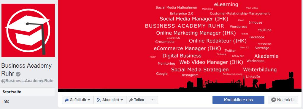 Das Design der Facebook Fanpage von der Business Academy Ruhr hat ein schlichtes Design und zeigt dem Besucher mit Keywords das Thema der Seite.