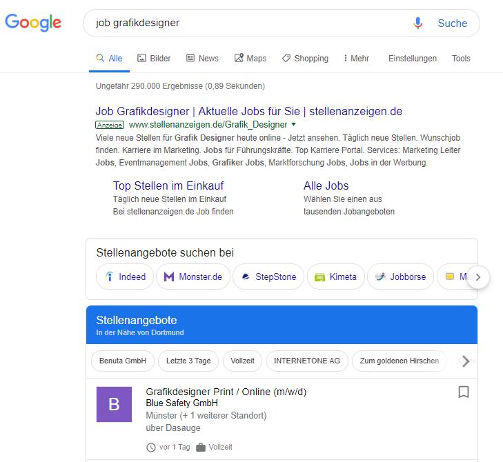 """Google Suchergebnisse bei """"Job Grafikdesigner"""""""