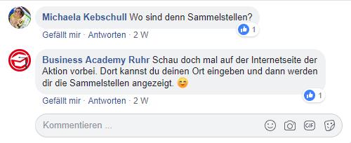 Ein Kommentar auf der Facebook Fanpage der Business Academy Ruhr
