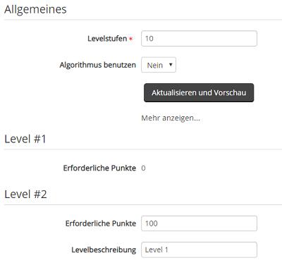 Auflistung von Einstellungen zu den Levels im Plugin LevelUp!