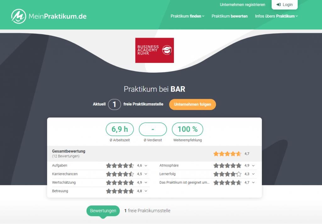 Die Seite der Business Academy Ruhr auf der Bewertungsplattform MeinPraktikum.de