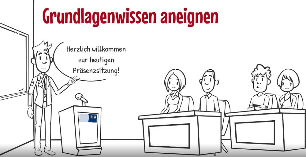 Ausschnitt von einem der Erklärvideos der Business Academy Ruhr, erstellt mit der Software Vyond