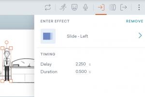 Effekt Einstellungen beim Videotool Vyond: Auswahl des Effekts, Eintritt und Dauer des Effekts