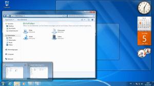 Der altbekannte Startbildschirm von Windows 7 mit dem geöffneten Explorer.