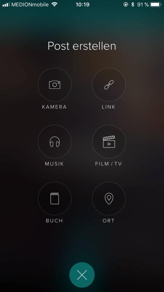 Oberfläche der App Vero bei Erstellung eines Posts.