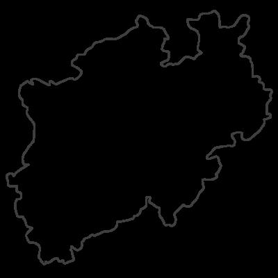 Schwarz-Weiß Landkarte von NRW