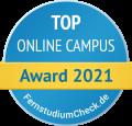 Rundes Blaues Gütesiegel von Fernstudiumcheck für TOP Online Campus mit einem gelben Banner mit der Aufschrift