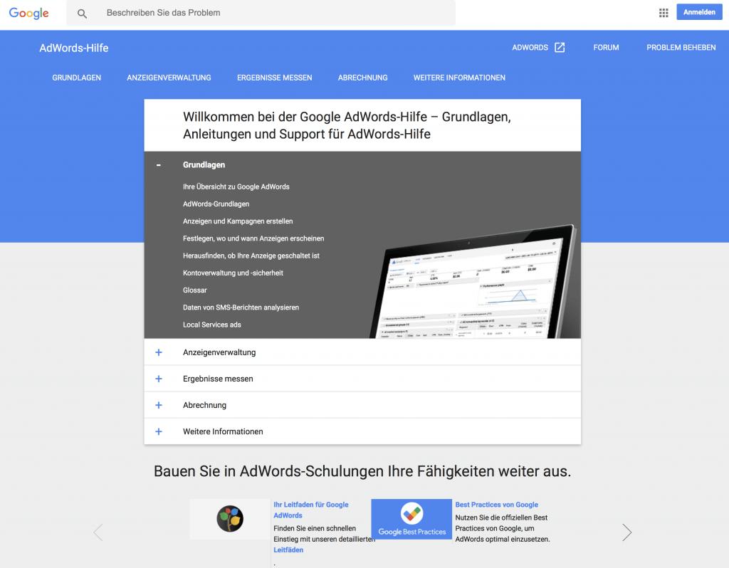 Startseite des Google AdWords Support.