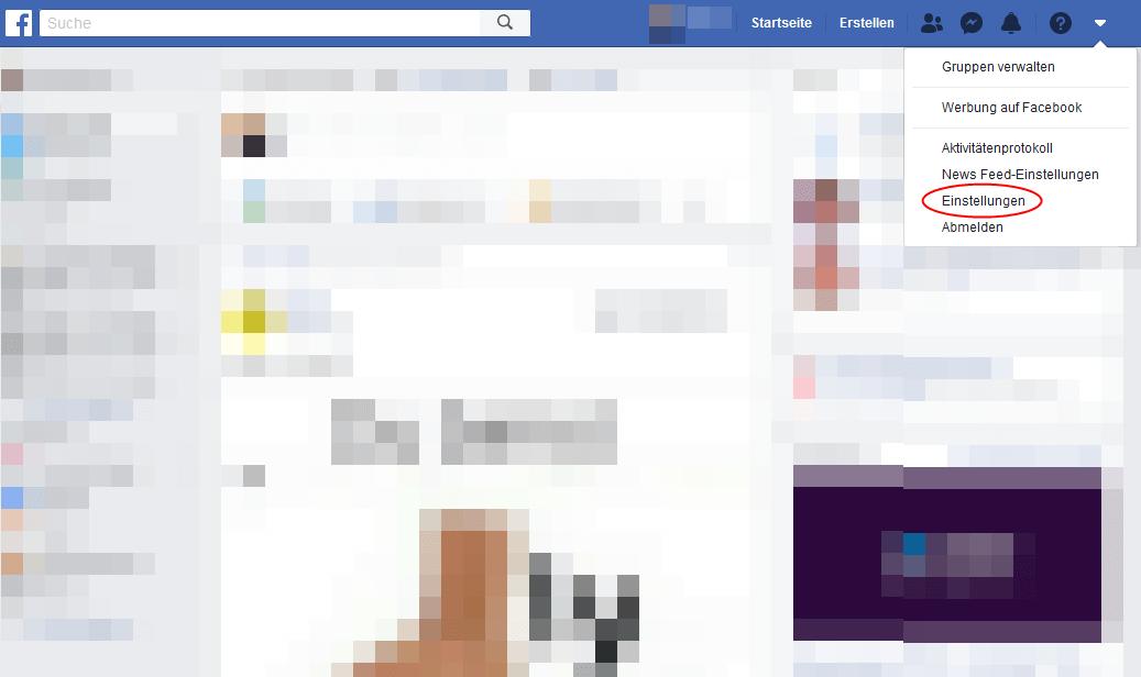 Screenshot Facebook-Startseite