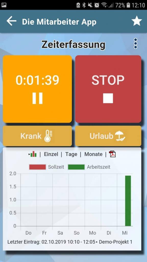 App-Screenshot der Mitarbeiter App von appdialog - ein einfaches Tool der digitalen Zeiterfassung.