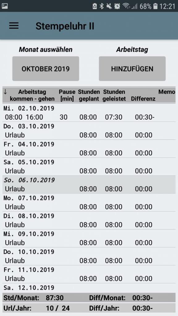 App-Screenshot der Stempeluhr 2 - ein einfaches Tool der digitalen Zeiterfassung.