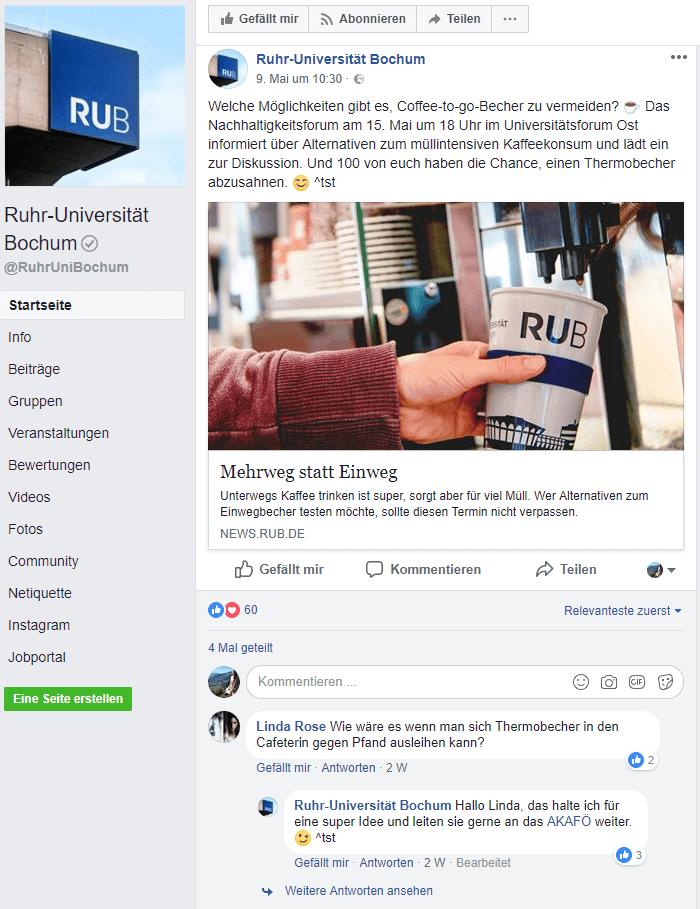Facebook-Seite der Ruhr-Universität Bochum.