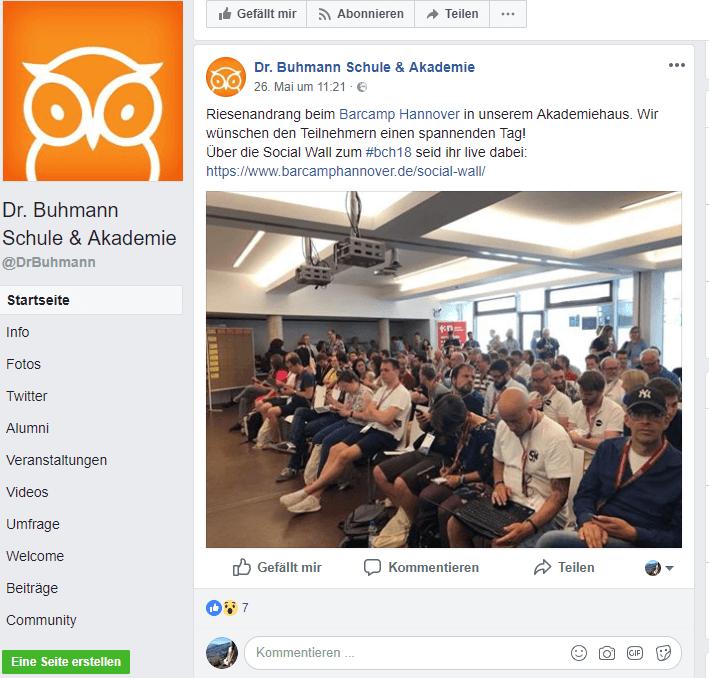 Facebook-Seite der Dr. Buhmann Schule aus Hannover.