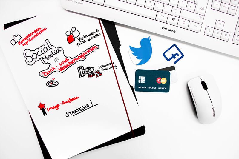 Gezeigt wird ein Bild zum Thema Social Media im Bankwesen. Auf einem Schreibtisch liegt eine Tastatur, eine Maus, Kreditkarten, das Twitter- und Facebooksymbol und eine Mindmap zum Thema Social Media im Bank- und Versicherungswesen